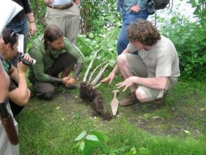 Dan Vitalis and Arthur Haines with digging stick during a foraging course.