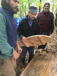 Maine Primitive Skills School apprentices make snow shoes.
