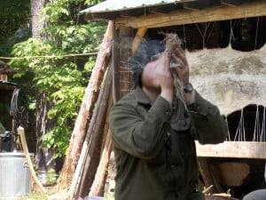 Ian's first bow drill with stone tools and natural cordage.